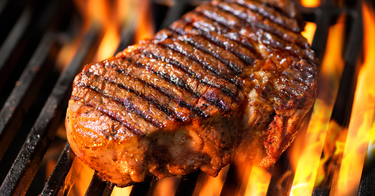 charcoal bbq steak