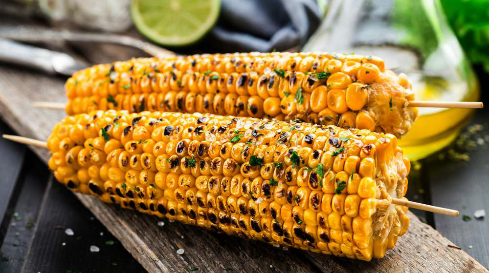 grilled corn on barbeque