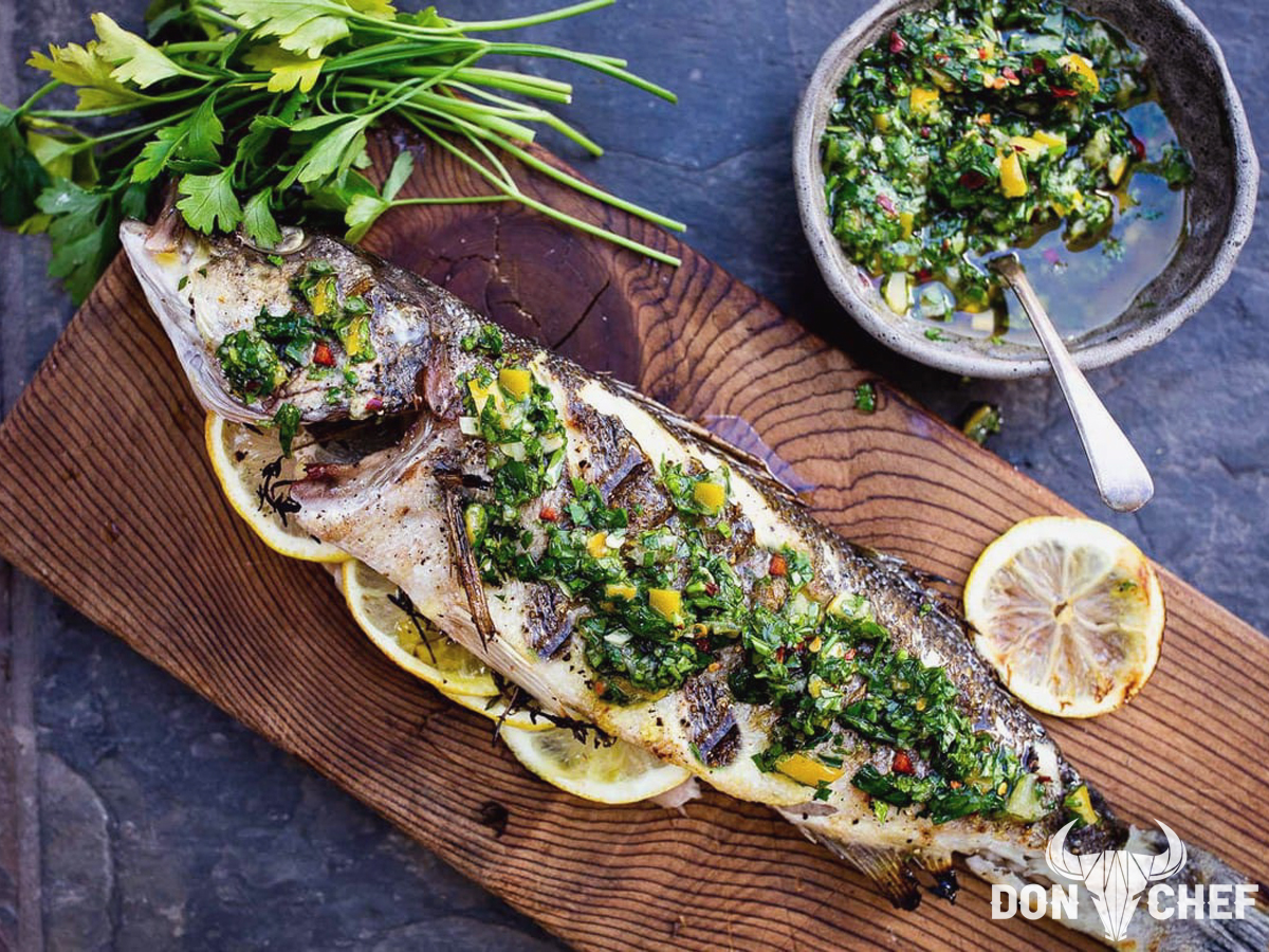 Don Chef whole trout on wood